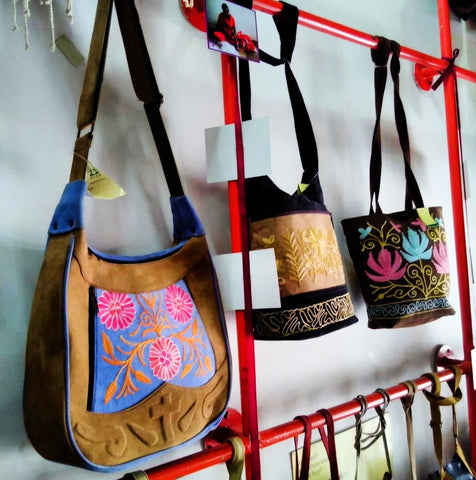 Fairtrade Travels visit to M.E.S.H Dehli India, hand embroidered Kashmiri bags April 2019