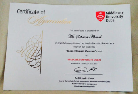 Sabeena Ahmed Certificate of appreciation for  at the Social Enterprise Showcase  Middlesex University Dubai April 19