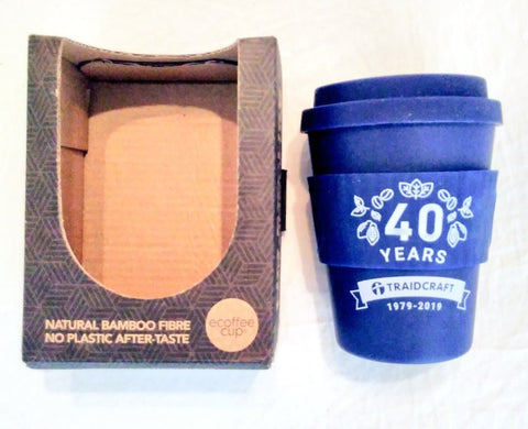 Traidcraft 40th Anniversary reusable cup and packaging - Plastic Free July, break free from plastic Dubai