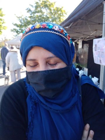 My sister Irem modelling a lovely tiara headband at The YesBVIP stall at The Makers Market West Didsbury Manchester September 2020
