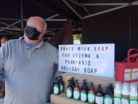 Goats Milk hand wash and un fragranced goats milk soap purchased at Signature Soaps at The Makers Market West Didsbury Manchester September 2020