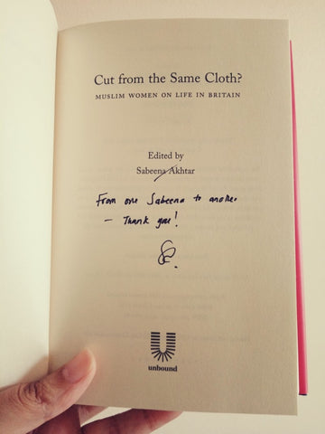 The Little Fair Trade Blog, Fair Trade Ethical Living, My signed copy of 'Cut from the Same Cloth' edited by Sabeena Akhtar