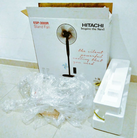 Hitachi Fan wish excessive plastic and styrofoam packaging - Plastic Free July with Sabeena Ahmed