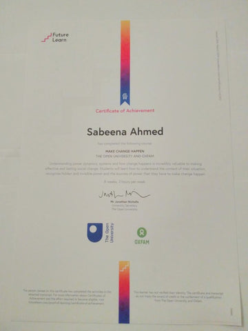 Sabeena Ahmed's Be The Change - Future Learn MOOC with Oxfam and the Open University Certificate