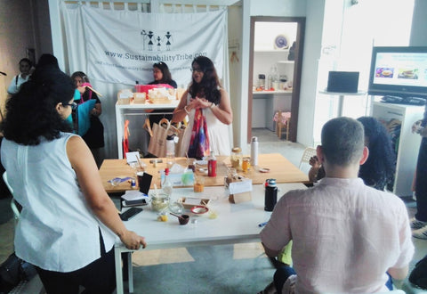 Fair Trade Ethical Beauty - Natural Beauty DIY Workshop participants with Sabeena Ahmed and Amruta Kshemkalyani