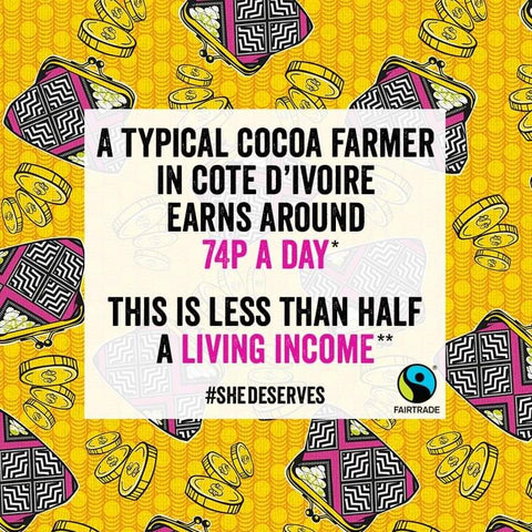A Typical Cocoa FArmer in Cote D'Ivoire earns around 74p a day - Credit and Source Fairtrade Foundation UK