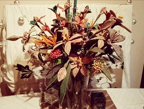 Hand made paper bouquet Thai Craft, Plastic Free July 2021 Day 2 with Sabeena Z Ahmed