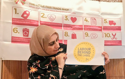 Labour Behind The Label Poster with Sabeena Ahmed and The Little Fair Trade Shop