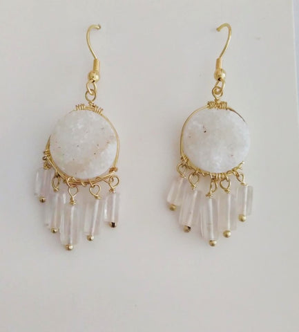 Tara projects fairtrade white and gold earrings gift - Sabeena Ahmed