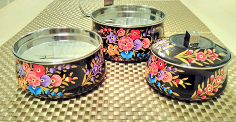 My beautiful hand painted fairly traded tiffin set - Plastic Free July with Sabeena Ahmed