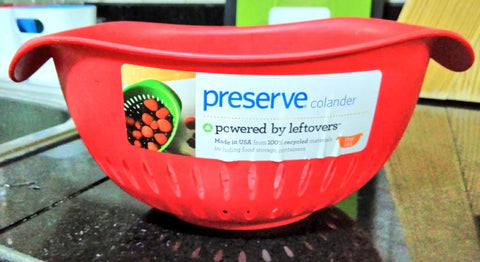 Red Preserve Colander - Powered by leftovers and 100% recycled materials including plastic containers - Plastic Free July with Sabeena Ahmed