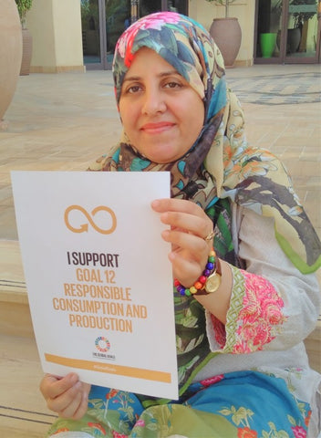Irem Ahmed shows her support for SDG 12 Responsible Consumption and Production at Madinat Jumeirah Dubai September 2018