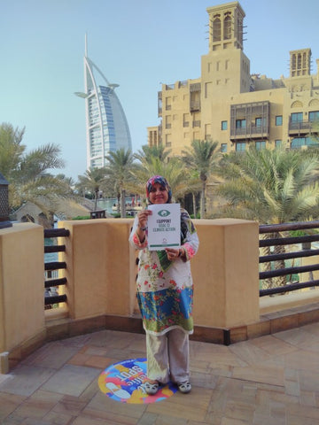 Irem Ahmed shows her support for SDG 13 Climate Action at Madinat Jumeirah Dubai September 2018