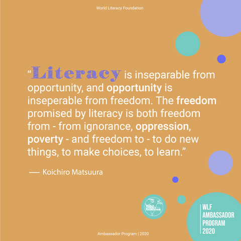 Literacy is Freedom poster - World Literacy Foundation Ambassador Program 2020 with Sabeena Ahmed