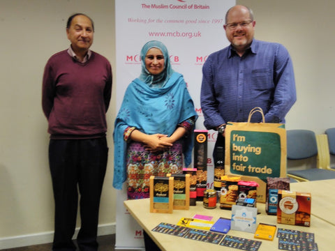 Sabeena Ahmed of The Little Fair Trade Shop and Alistair Menzies Traidcraft meeting with Dr Jamil Sherif and Mrs Nasima Begum at The Muslim Council of Britain, London 10th November 2016