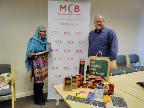 Sabeena Ahmed of The Little Fair Trade Shop with Alistair Menzies Traidcraft meeting with Dr Jamil Sherif and Mrs Nasima Begum at The Muslim Council of Britain 10th November 2016