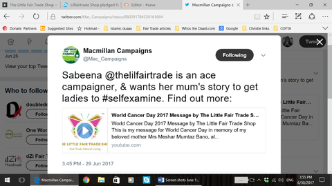 Macmillan Campaigns tweet - World Cancer Day 2017 Message by Sabeena Ahmed