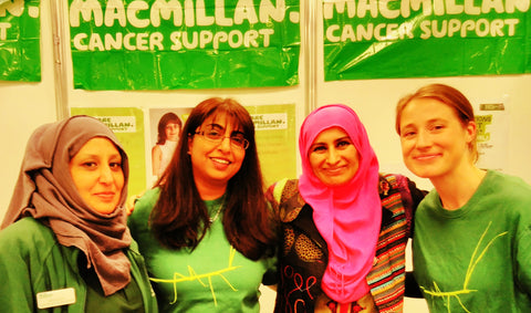 Sabeena Ahmed with Macmillan Cancer Support Volunteers at the Muslim Lifestyle Show London April 17