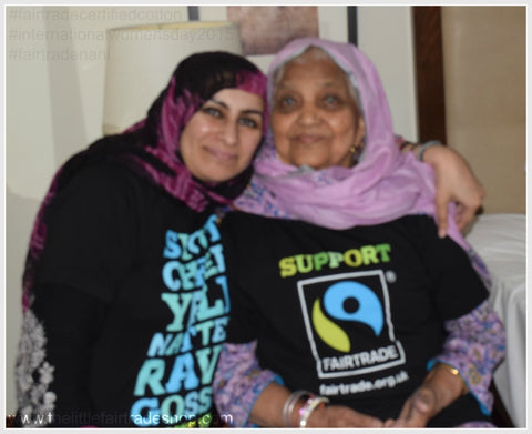 Sabeena Ahmed with her maternal late grandmother Shamsun Nisa modelling a I support fairtrade T-shirt, Karahi, Pakistan