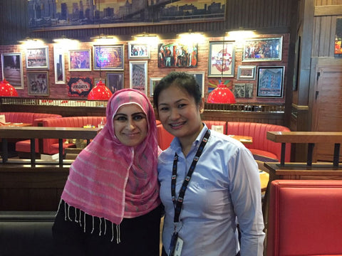 Sabeena Ahmed and Jillian Gay at TGI Friday's, Dubai Mall, Dubai UAE - Acts of kindness with Kindness.org
