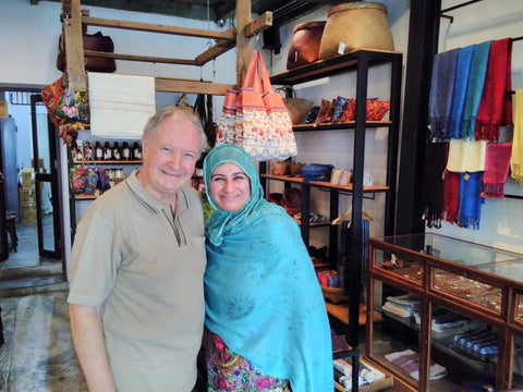 Mr Stephen Salmon and Sabeena Ahmed at the Heritage Craft and Cafe Bangkok - June 2018