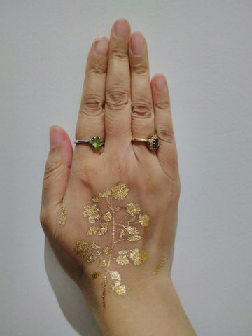 My gold tattoo transfer for the Six Items Challenge with Labour Behind the Label - Dubai, UAE
