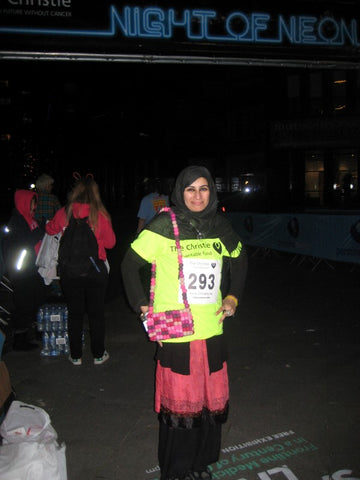 Sabeena Ahmed participating in the Night of Neon 10km walk for The Christies Hospital, Manchester, UK - October 2016