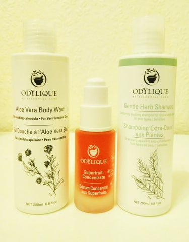 Odylique Gentle Herb Shampoo, Aloe Vera Shower Gel and Superfruit Concentrate Serum - Sabeena Ahmed and The Little Fair Trade Shop