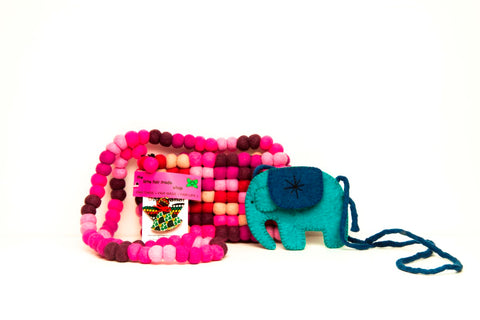 Fairtrade Pink Bobbles Breast Cancer Research Bag produced my Friends Handicraft and Maiti Nepal