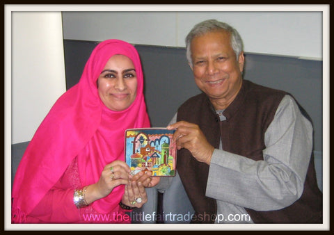 Professor Mohammad Yunus Nobel Peace Prize Winner with Sabeena Ahmed of The Little Fair Trade Shop UK and UAE - Salford University May 2013