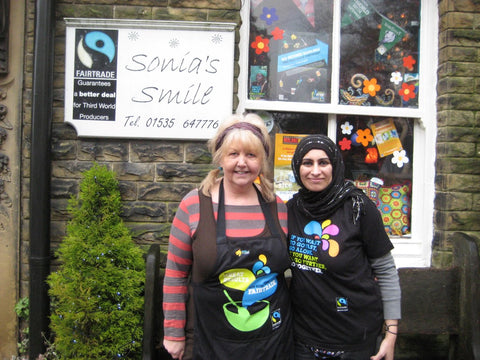 My Fair Trade Heroine the inspriational Rita Verity Director and Owner of Sonia's Smiles, Haworth, UK and me!