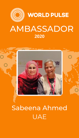 World Pulse UAE Ambassador Badge 2020 - Sabeena Ahmed