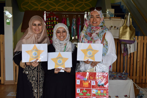Celebrating World Fair Trade Day 2016 Dubai UAE - Left to right Sabeena Ahmed, Saima Khan and Sofia Choudhury at the Home Grown Childrens Eco Nursery