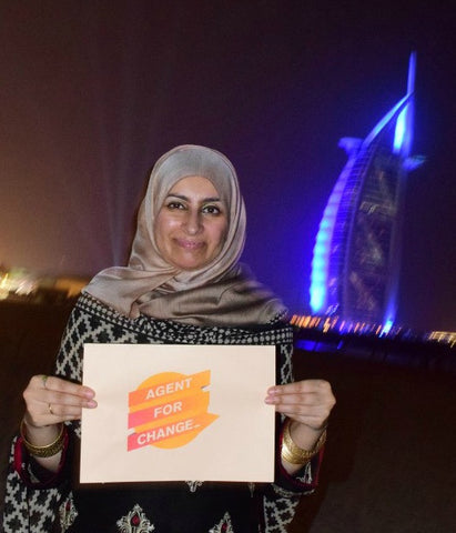 Agent For Change Sabeena Ahmed of The Little Fair Trade Shop celebrating World Fair Trade Day 2017, Dubai, UAE