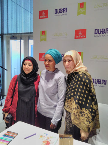 Mrs Saima Tahqiq, Nadiya Hussain and Sabeena Ahmed at the Emirates Airline Literature Festival and the Six Items Challenge 2017 with Labour Behind the Label Dubai UAE