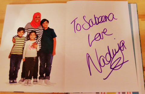Fairtrade Fortnight 17 - Book signed by Nadiya Hussain Photographed with Sabeena Ahmed (The Little Fair Trade Shop) Emirates Airline Literature Festival, Dubai, UAE - March 17
