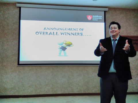 Dr Cody Paris announcing the winners at the Middlesex University Dubai Social Enterprise Showcase April 18