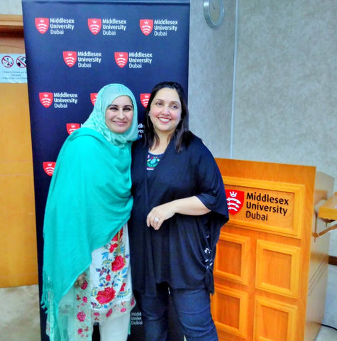 Sabeena Ahmed with Shanthi Rajan at the Middlesex University Dubai Social Enterprise Showcase April 18