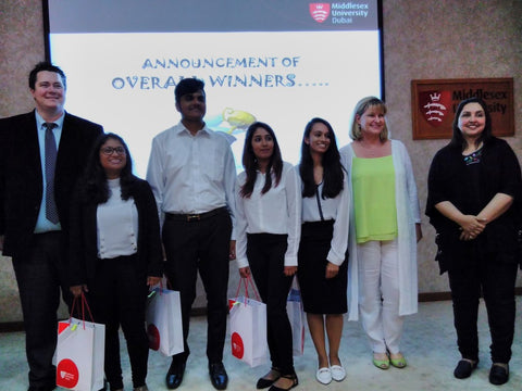 Dr Cody Paris, Sandra Stephenson and Shanthi Rajan with the winners PapersCo at the Middlesex University Dubai Social Enterprise Showcase April 18