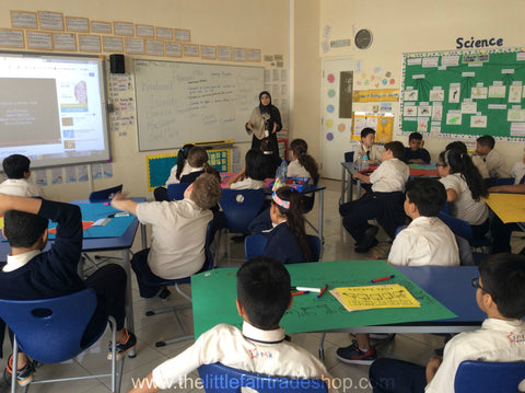 Sabeena Ahmed teaching about fair trade bananas at the Star International School, Mirdif DubaiUAEDub