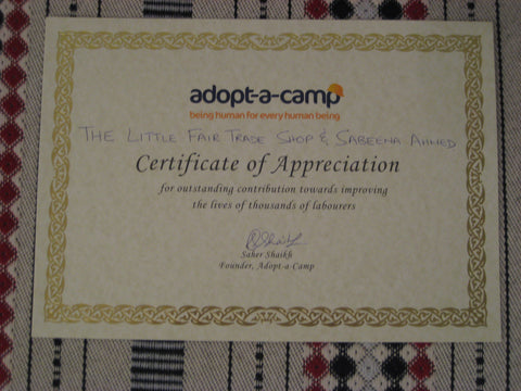 Adopt A Camp Certificate - Dubai, United Arab Emirates
