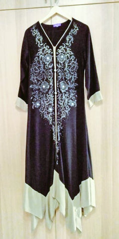 Six Items Challenge 2020 - black traditional style Pakistani dress with gold pattern purchased by my late mother