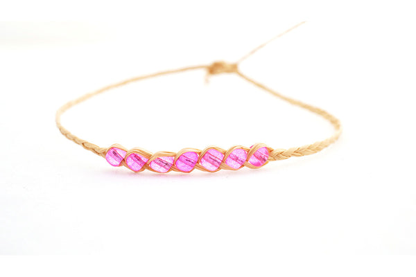 Palm Leaf Bracelet With Coloured Beads