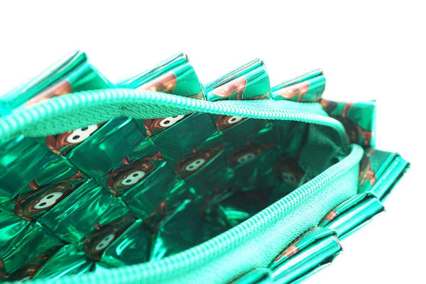 Recycled Juice Carton Clutch Bag Green Inside