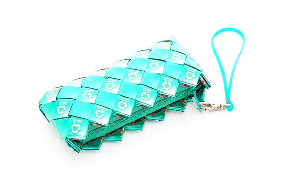 Recycled Juice Carton Clutch Bag Green