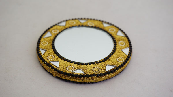 Fair Trade Black & Gold Embroidered Beaded Pocket Mirror