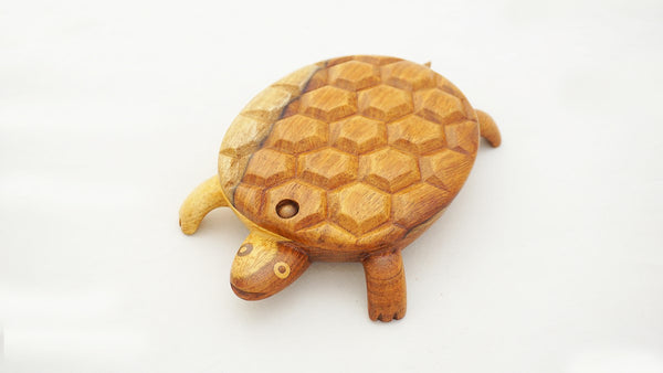 Fair Trade wooden turtle box with sliding lid