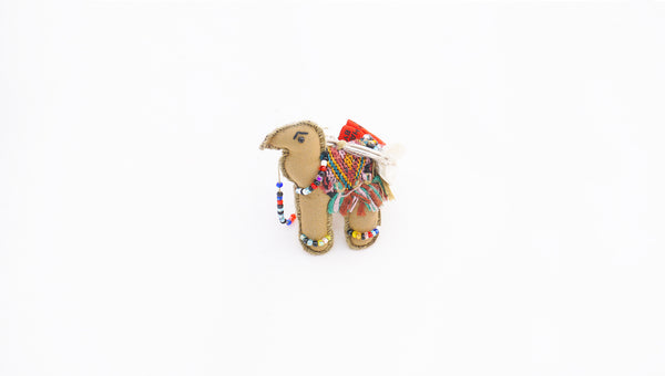 Fair Trade embroidered camel key ring