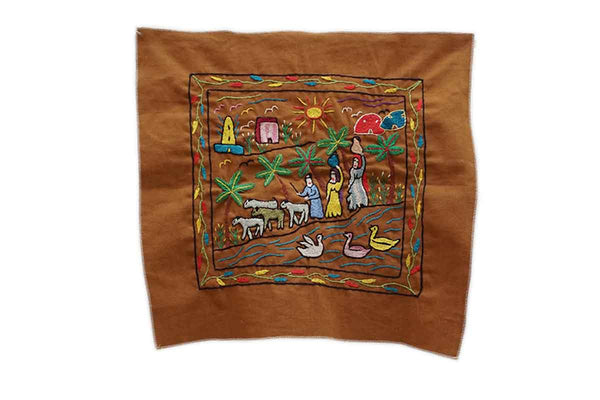Fair Trade Hand Embroidered Wall Hanging Brown