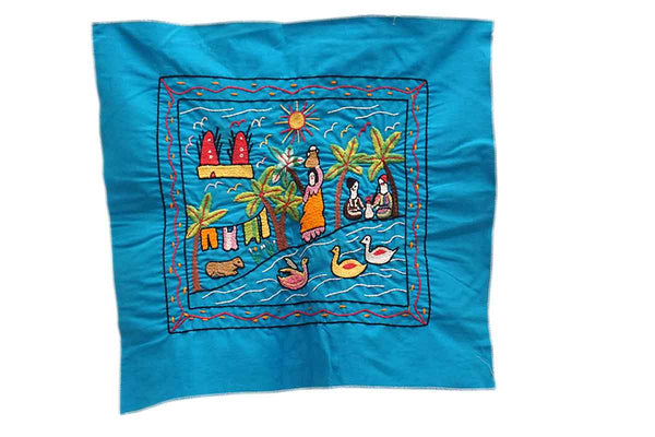 Fair Trade Hand Embroidered Wall Hanging Blue
